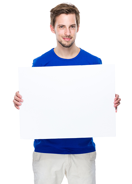 Man hold with blank board