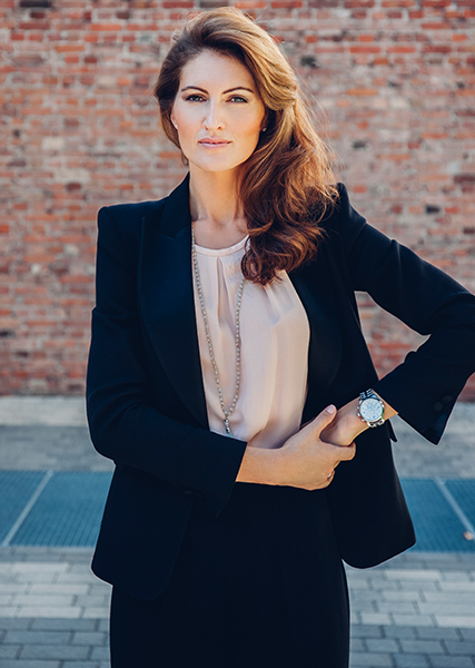 Portrait of businesswoman, outdoors